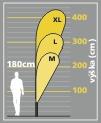 muší křídla Bowflag 100 - kapka - kóty